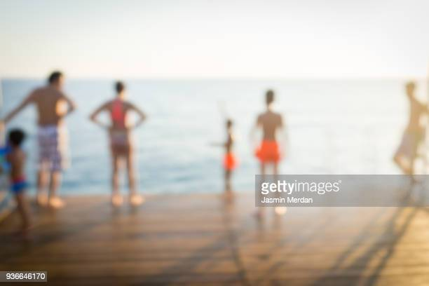 Blurry Background of Groups of people on the Beach