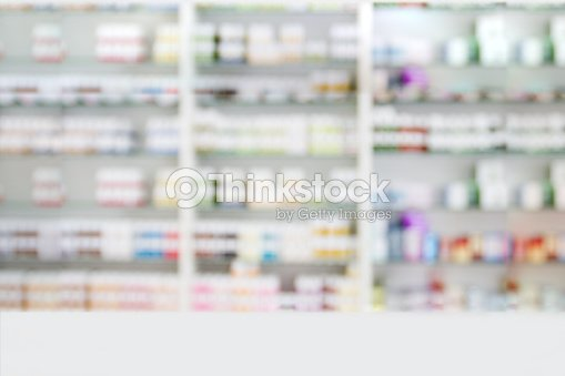 Blurry Medicine Cabinet And Pharmacy For Background Stock Photo