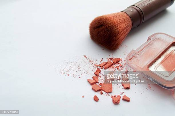 Blush And Make-Up Brush On White Background