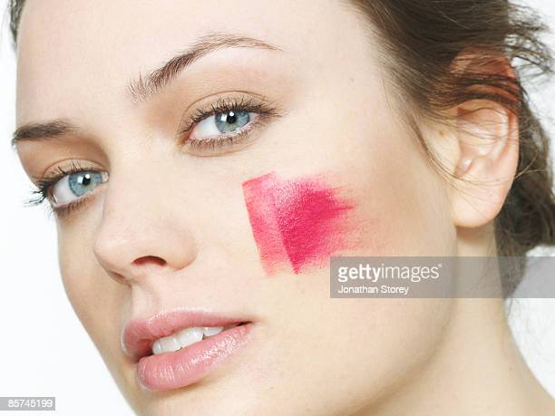 Blusher on cheek