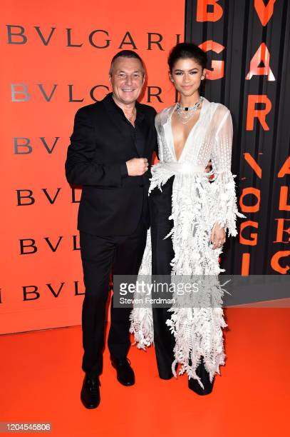 Blvgari CEO Jean Christophe Babin and Zendaya attend the Bvlgari Bzero1 Rock collection event at Duggal Greenhouse on February 06 2020 in Brooklyn...