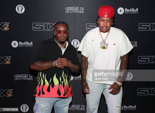 Blxst and Bino Rideaux attend the Blxst & Bino Rideaux 'Sixtape 2' release event at The Theatre at Ace Hotel on July 15, 2021 in Los Angeles,...