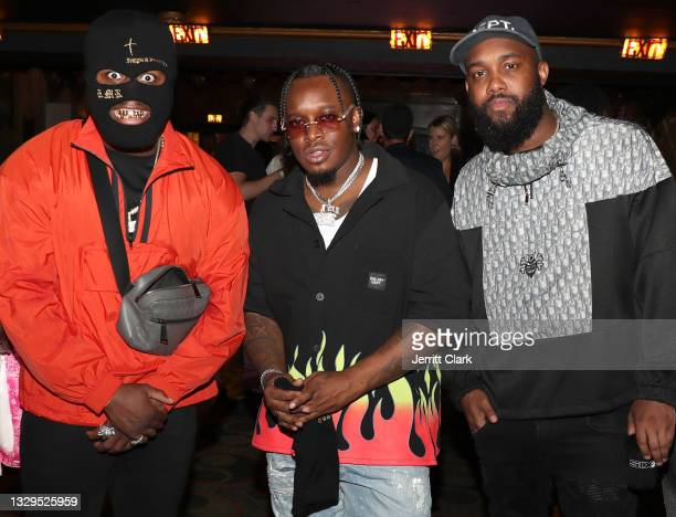 Blxst and Chauncey G attend the Blxst & Bino Rideaux 'Sixtape 2' release event at The Theatre at Ace Hotel on July 15, 2021 in Los Angeles,...