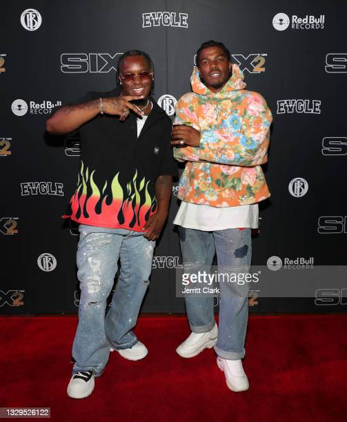 Blxst and Smino attend the Blxst & Bino Rideaux 'Sixtape 2' release event at The Theatre at Ace Hotel on July 15, 2021 in Los Angeles, California.
