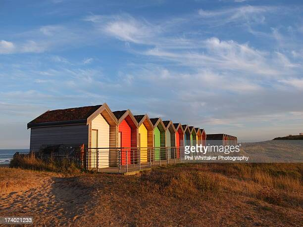 blyth beach huts - blyth northumberland stock pictures, royalty-free photos & images