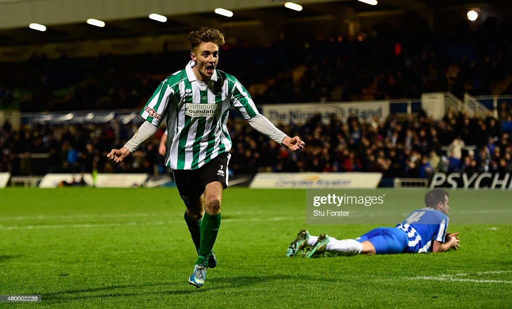 Blyth Spartans player Jarrett Rivers celebrates after scoring the second goal during the FA Cup Second round match between Hartlepool United and Blyth Spartans at Victoria Park on December 5, 2014 in Hartlepool, England.