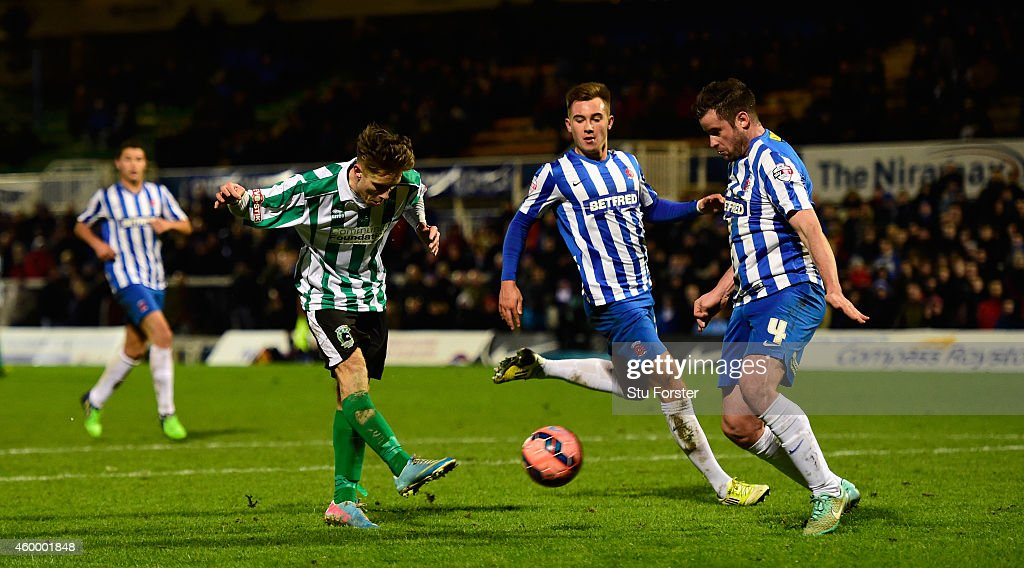 Blyth Spartans player Jarrett Rivers scores the second goal during the FA Cup Second round match between Hartlepool United and Blyth Spartans at Victoria Park on December 5, 2014 in Hartlepool, England.