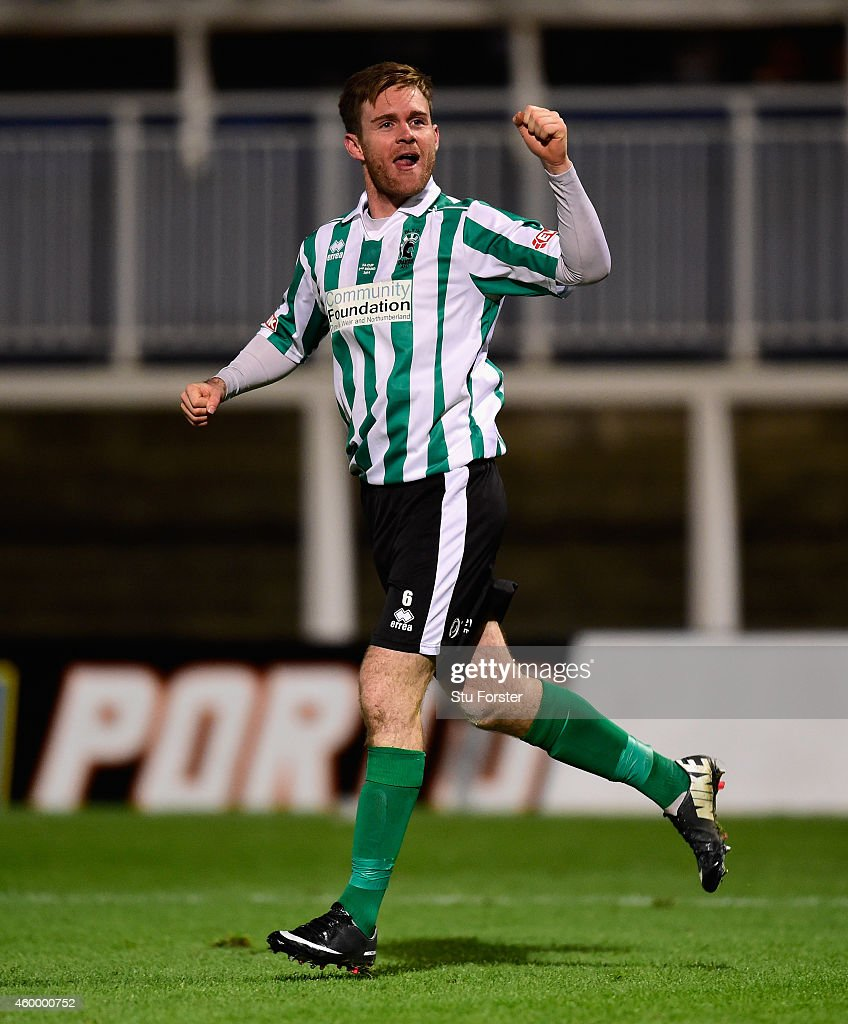 Blyth Spartans player Stephen Turnbull celebrates his equaliser during the FA Cup Second round match between Hartlepool United and Blyth Spartans at Victoria Park on December 5, 2014 in Hartlepool, England.