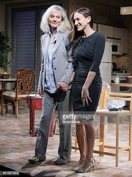 Blythe Danner and Sarah Jessica Parker take the opening night curtain call in 'The Commons Of Pensacola' at The Manhattan Theater Club Stage 1 on...