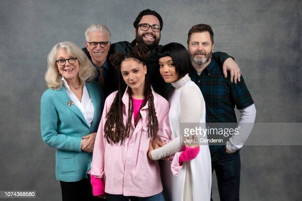 """Blythe Danner, Ted Danson, Sasha Lane, Brett Haley, Kiersey Clemons and Nick Offerman from """"Heart Beats Loud"""" are photographed for Los Angeles Times..."""