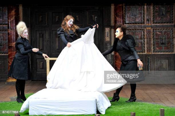 Blythe Duff as Nurse Kirsty Bushell as Juliet andMartina Laird as Lady Capulet in William Shakespeare's Romeo and Juliet directed by Daniel Kramer at...