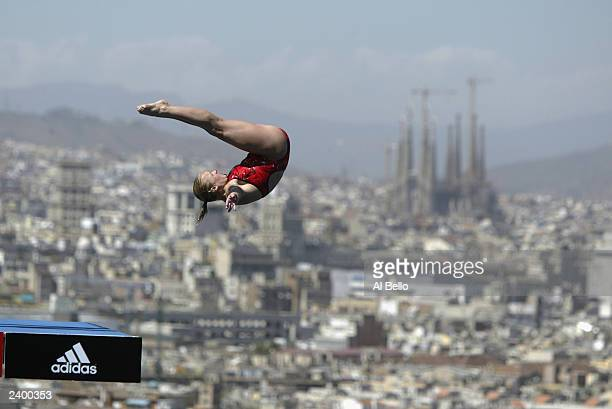 Blythe Hartley of Canada competes in the women's 10m platform diving preliminaries during the 10th FINA World Swimming Championships 2003 at Piscina...