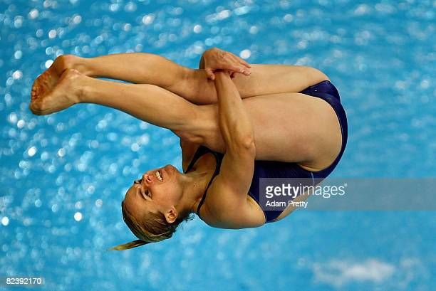 Blythe Hartley of Canada competes in the Women's 3m Springboard final held at the National Aquatics Centre during Day 9 of the Beijing 2008 Olympic...