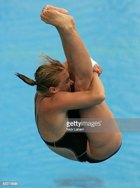 Blythe Hartley of Canada competes in the women's three meter springboard finals during the XI FINA World Championships at the Parc JeanDrapeau on...