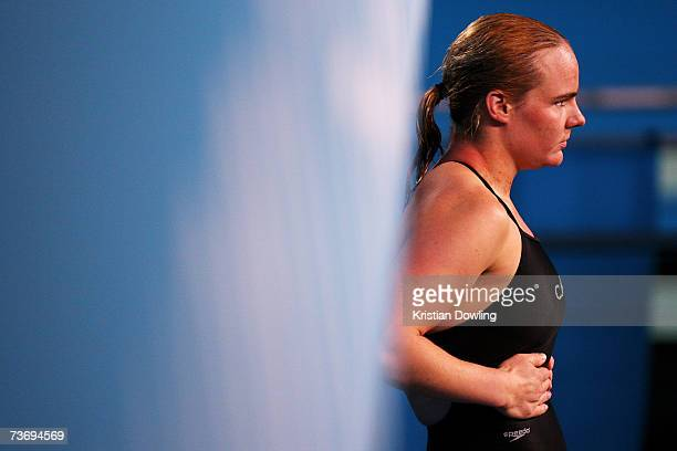 Blythe Hartley of Canada gets ready to perofrm in the Women's 3m Springboard Final during the XII FINA World Championships at the Melbourne Sports...