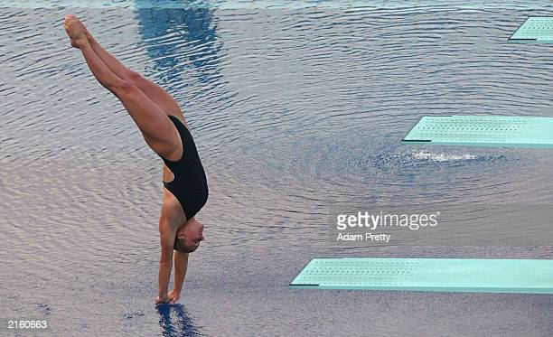 Blythe Hartley of Canada in action on her way to third place in the Women's 1m Springboard diving final during the 2003 World Swimming Championships...