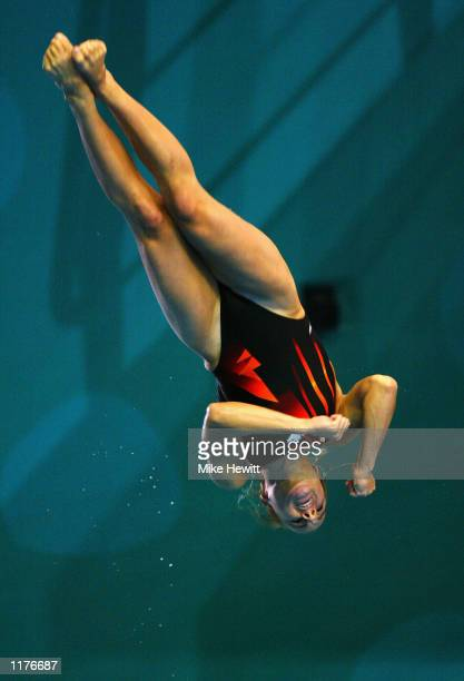 Blythe Hartley of Canada in the Womens1m springboard Final diving event at the Manchester Aquatics Centre during 2002 Commonwealth Games in...