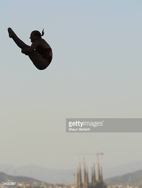 Blythe Hartley of Canada performs during the Womens 10m Platform diving Final during the 10th FINA World Swimming Championships 2003 at Piscina...