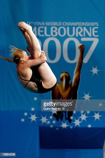 Blythe Hartley of Canada performs in the Women's 3m Springboard Final during the XII FINA World Championships at the Melbourne Sports and Aquatic...