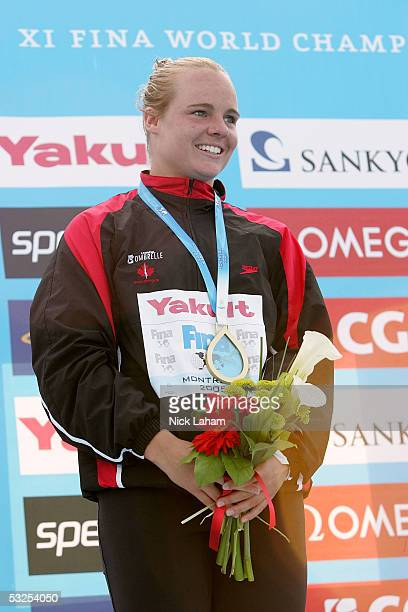 Blythe Hartley of Canada wins the gold medal in the Women's 1 meter Springboard final during the XI FINA World Championships on July 18 2005 at the...