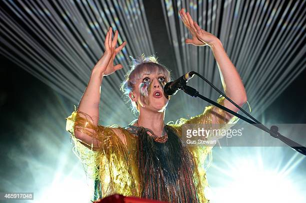Blythe Pepino of Vaults performs on stage at Village Underground on March 11 2015 in London United Kingdom