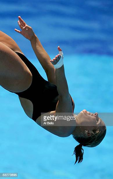 Blyther Hartley of Canada competes in the Women's 3 meter Springboard semifinal during the XI FINA World Championships on July 22 2005 at the Parc...
