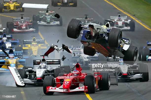 Williams driver Ralf Schumacher of Germany crashes during the Australian Formula One Grand Prix held at the Albert Park Circuit on March 3 2002 in...