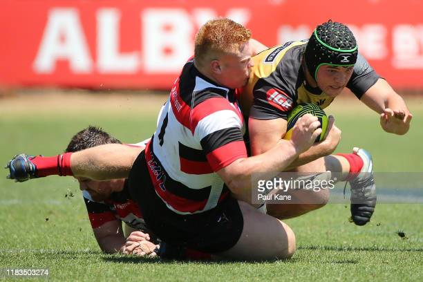 Bo Abra of the Vikings tackles Carlo Tizzano of the Force during the NRC Final between the Western Force and Canberra Vikings at the University of...