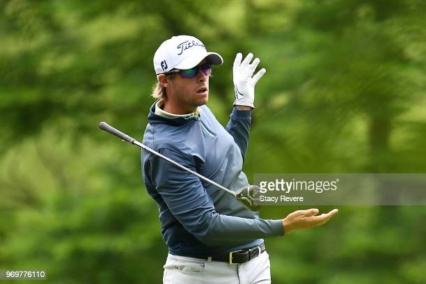 Bo Andrews hits his tee shot on the third hole during the second round of the RustOleum Championship at the Ivanhoe Club on June 8 2018 in Ivanhoe...
