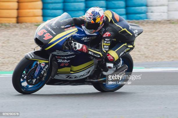 Bo Bendsneyder of Dutch and Tech3 Racing rounds the bend during the Moto2 Moto3 Tests In Jerez at Circuito de Jerez on March 8 2018 in Jerez de la...
