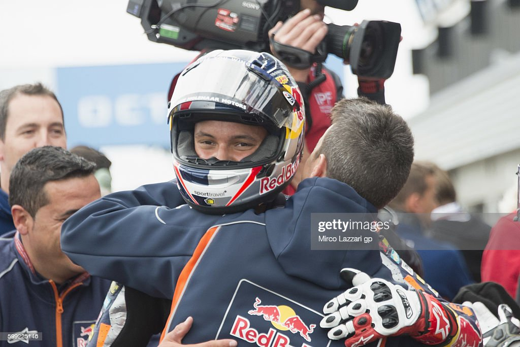Bo Bendsneyder of Netherlands and Red Bull KTM Ajo celebrates under the podium the third place at the end of the Moto3 race during the MotoGp Of Great Britain - Race at Silverstone Circuit on September 4, 2016 in Northampton, England.