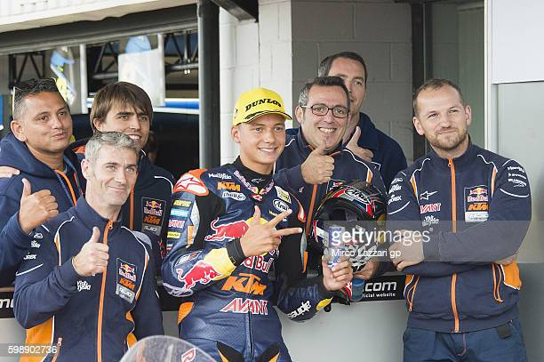 Bo Bendsneyder of Netherlands and Red Bull KTM Ajo celebrates with team at the end of the MotoGp of Great Britain qualifying practice Silverstone...