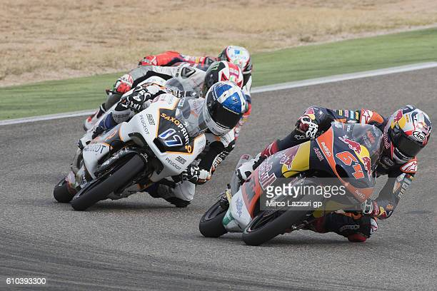 Bo Bendsneyder of Netherlands and Red Bull KTM Ajo leads the field during the Moto3 race during the MotoGP of Spain Race at Motorland Aragon Circuit...