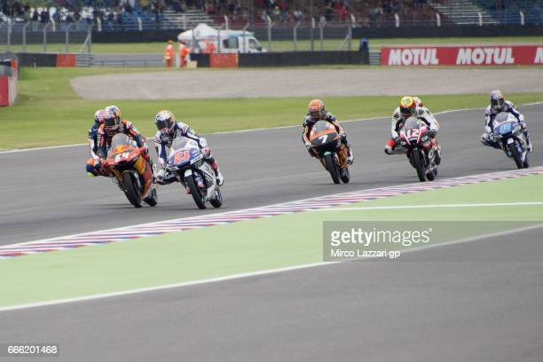 Bo Bendsneyder of Netherlands and Red Bull KTM Ajo leads the field during the MotoGp of Argentina Qualifying on April 8 2017 in Rio Hondo Argentina