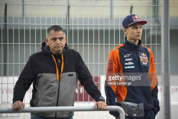 Bo Bendsneyder of Netherlands and Red Bull KTM Ajo looks on the weather condition in pit during the MotoGp of Qatar Qualifying at Losail Circuit on...