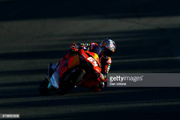 Bo Bendsneyder of the Netherlands and Red Bull KTM Ajo rides during warm-up for Moto3 at Circuito de Jerez on May 7, 2017 in Jerez de la Frontera,...