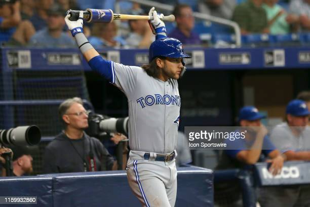 Bo Bichette of the Blue Jays stands on deck during the MLB regular season game between the Toronto Blue Jays and the Tampa Bay Rays on August 05 at...