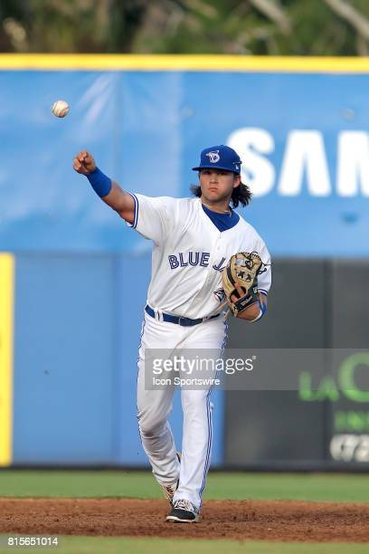 Bo Bichette of the Blue Jays throws the ball over to first base during the Florida State League game between the Bradenton Marauders and the Dunedin...