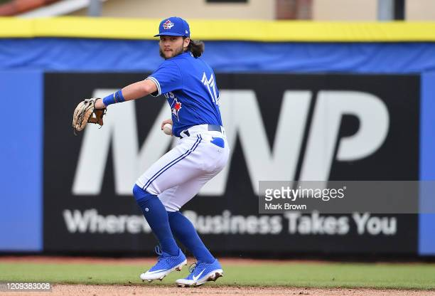 Bo Bichette of the Toronto Blue Jays at bat during the spring training game against the Minnesota Twins at TD Ballpark on February 27, 2020 in...