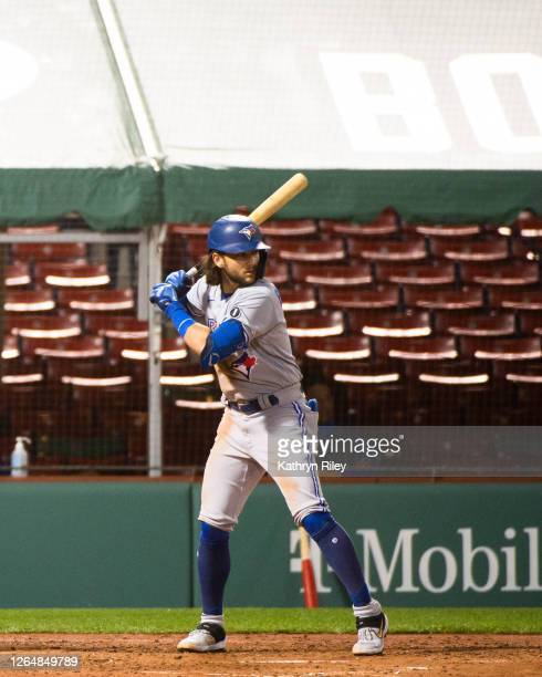 Bo Bichette of the Toronto Blue Jays at bat in the third inning at Fenway Park on August 8, 2020 in Boston, Massachusetts.