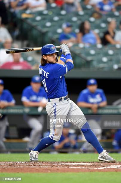 Bo Bichette of the Toronto Blue Jays bats against the Baltimore Orioles at Oriole Park at Camden Yards on August 1 2019 in Baltimore Maryland