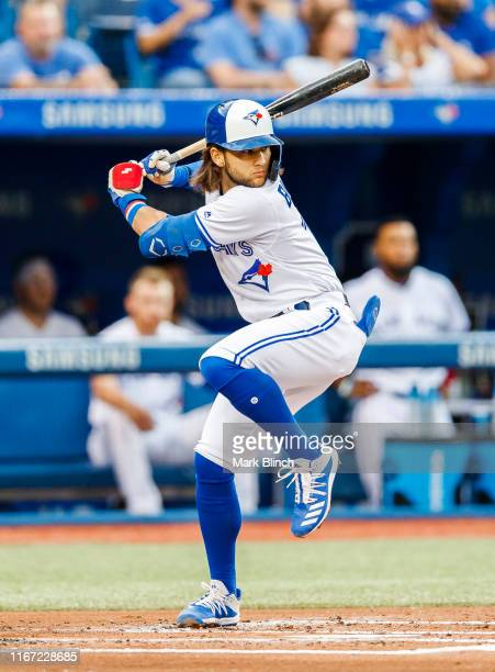 Bo Bichette of the Toronto Blue Jays bats against the New York Yankees in the first inning during their MLB game at the Rogers Centre on August 9,...