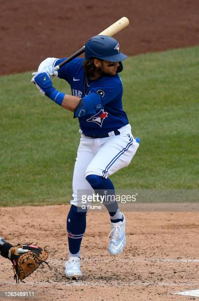 Bo Bichette of the Toronto Blue Jays bats against the Washington Nationals at Nationals Park on July 30, 2020 in Washington, DC, United States. The...