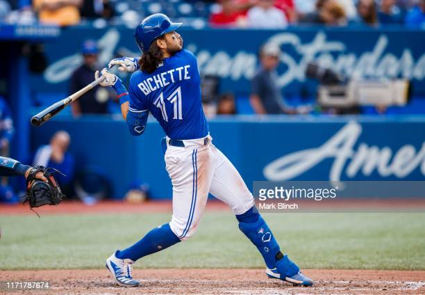 Bo Bichette of the Toronto Blue Jays hits a foul ball against the Houston Astros in the eighth inning during their MLB game at the Rogers Centre on...