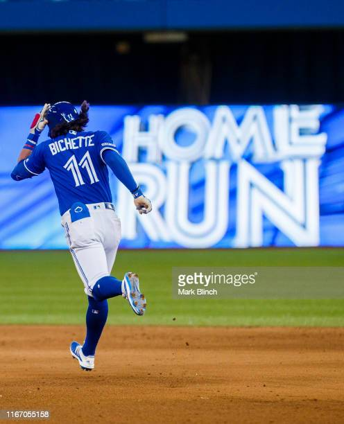 Bo Bichette of the Toronto Blue Jays hits a two run home run against the New York Yankees in the fifth inning during their MLB game at the Rogers...