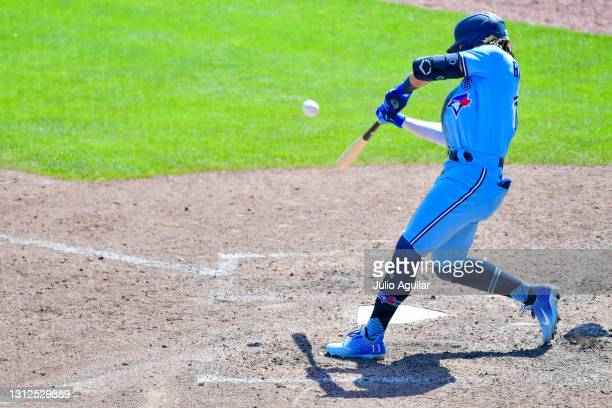 Bo Bichette of the Toronto Blue Jays hits a walk-off home run in the ninth inning off of Chad Green of the New York Yankees at TD Ballpark on April...