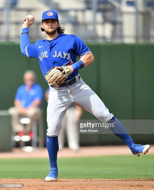 Bo Bichette of the Toronto Blue Jays in action during the spring training game against the Philadelphia Phillies at Spectrum Field on February 25...