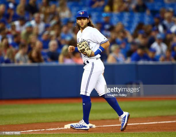 Bo Bichette of the Toronto Blue Jays leaves the field in the fourth inning during a MLB game against the Texas Rangers at Rogers Centre on August 13...
