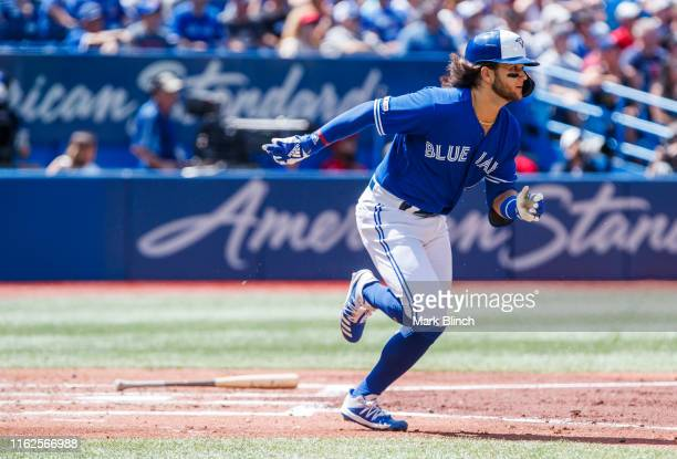 Bo Bichette of the Toronto Blue Jays lines out against the Seattle Mariners in the third inning during their MLB game at the Rogers Centre on August...