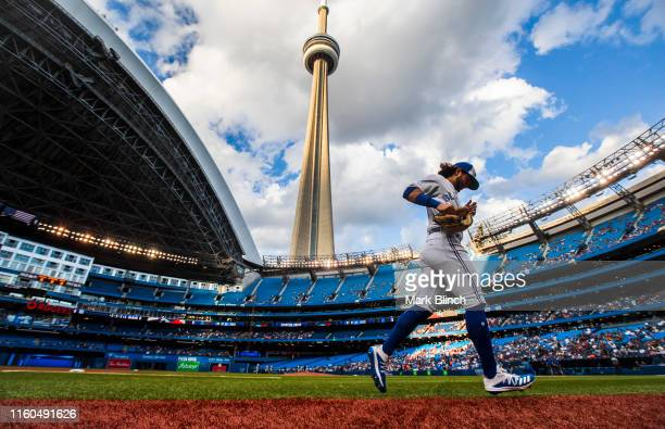 Bo Bichette of the Toronto Blue Jays runs on the field prior to the playing against the New York Yankees during their MLB game at the Rogers Centre...